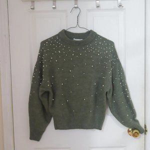 H&M Green Knit Sweater with Pearls